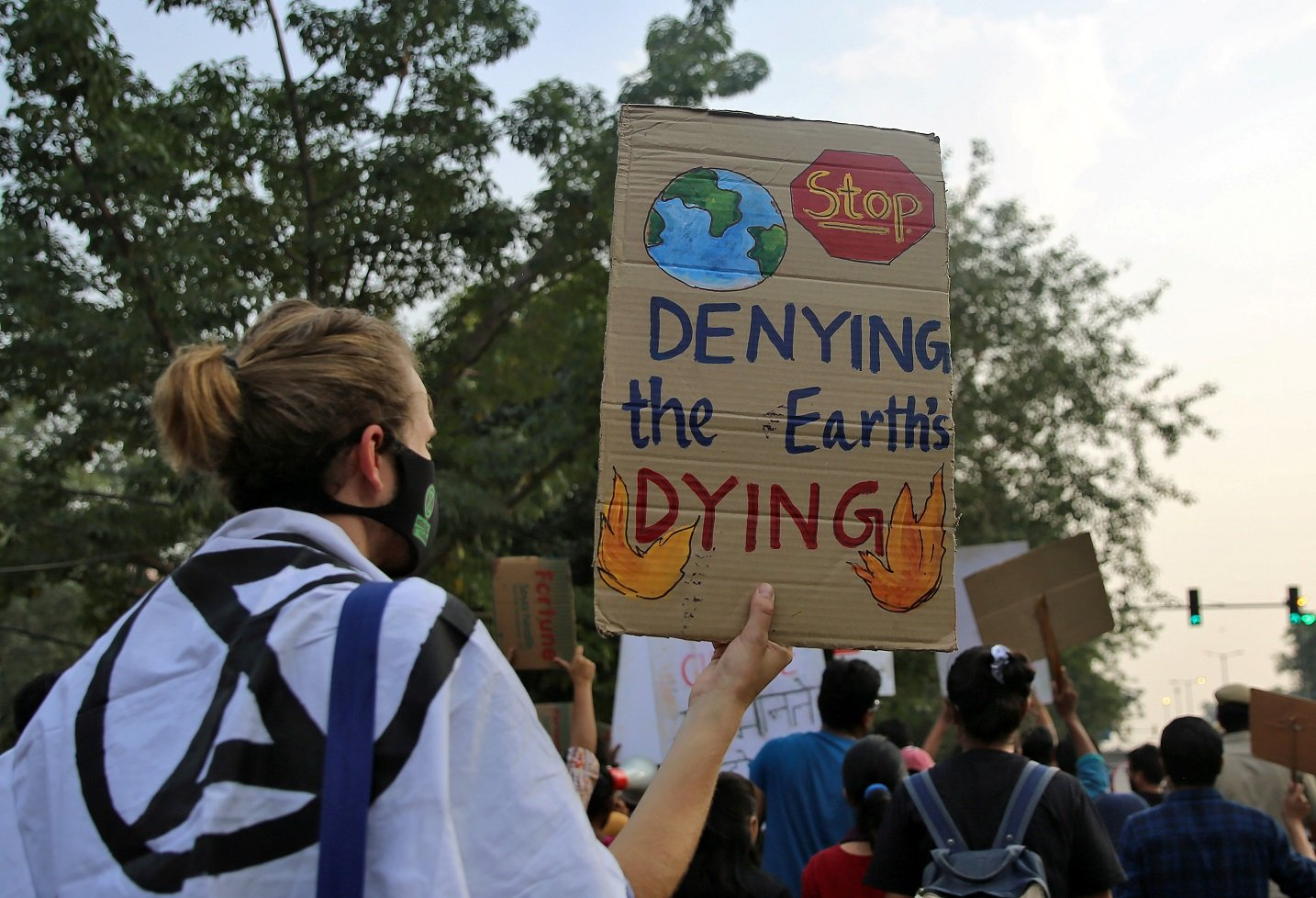 """A demonstrator wearing a protective mask holds a placard during a """"Fridays for Future"""" march in New Delhi"""
